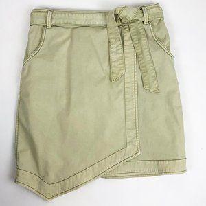 Pilcro Asymmetrical Chino Olive Tan Wrap Skirt 10